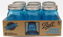 Vintage Blue Regular Mouth Pint Jars (6 Jars)