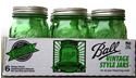 Spring Green Regular Mouth Pint Jars (6 Jars)