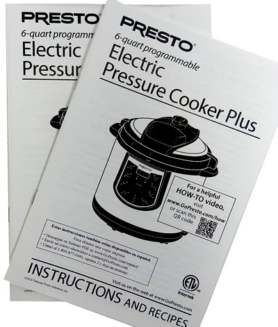 Presto Instruction Book for 6 quart electric